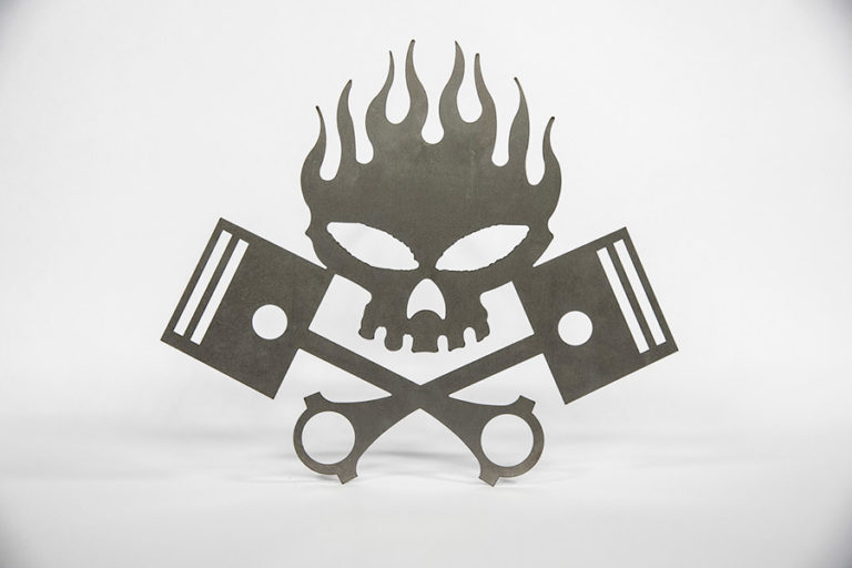 Metal Cut Piston Skull, small