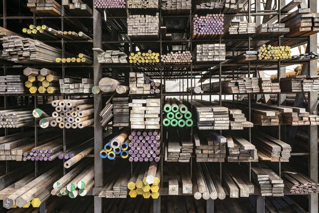 Stacked steels in metal warehouse